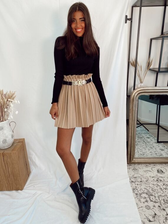 Faux leather pleated skirt BAMBI in beige