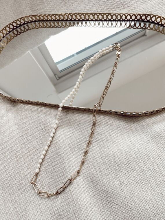 Long link chain and pearl necklace ANGELO