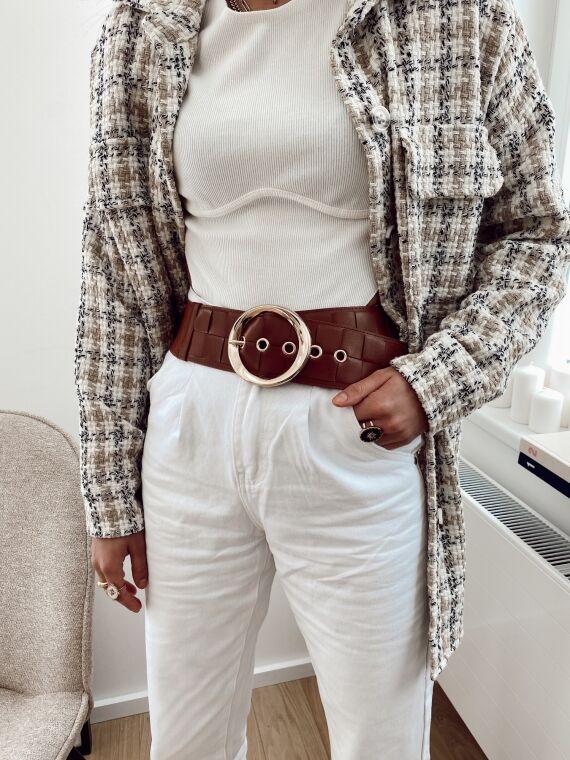 Elasticated belt PRALINE in camel