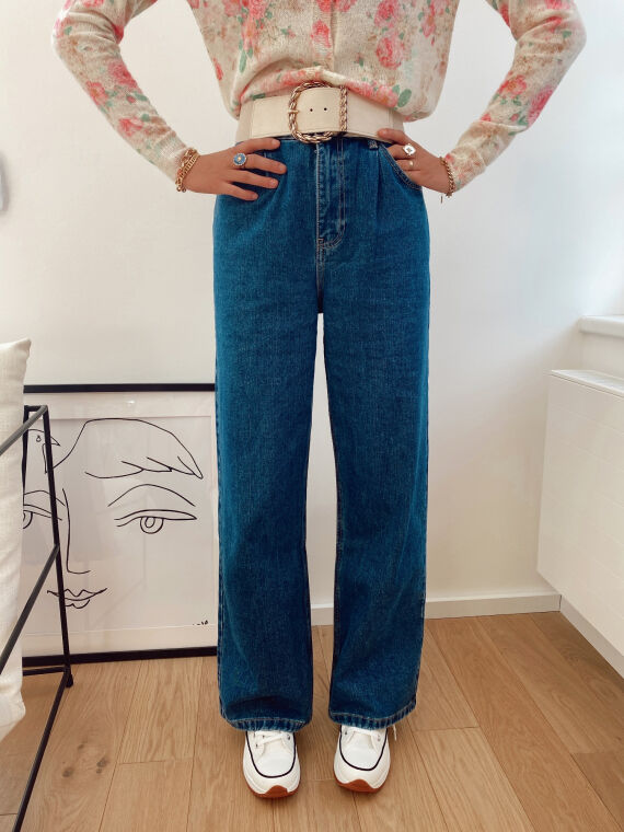 High-waisted wide leg jeans TEDO in blue