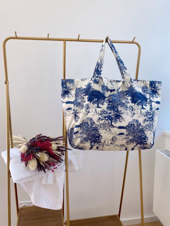 Cabas toile de jouy bleu