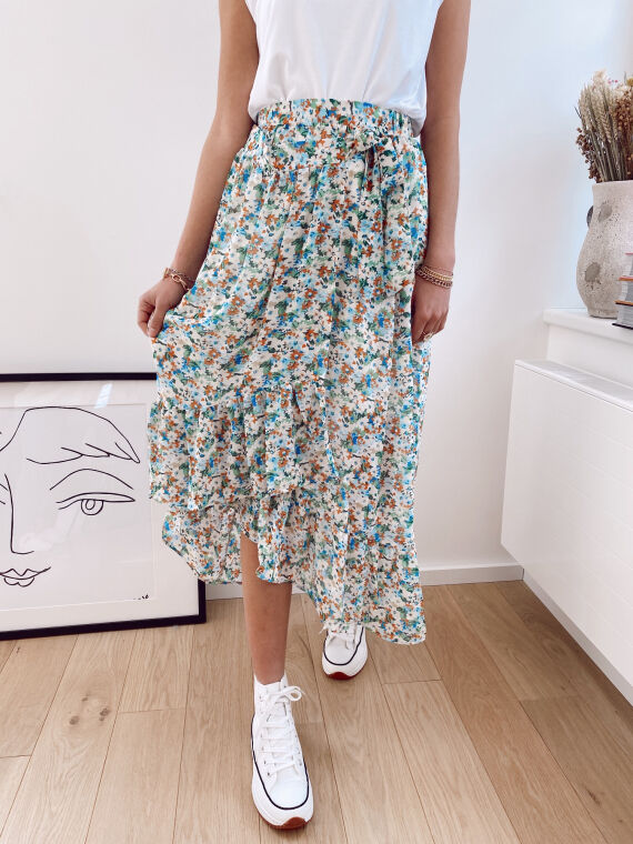 Long floral wrap skirt LORAINE in green