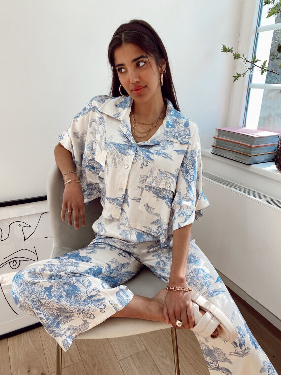 Toile de jouy satin set blouse and trouser AVENUE in blue