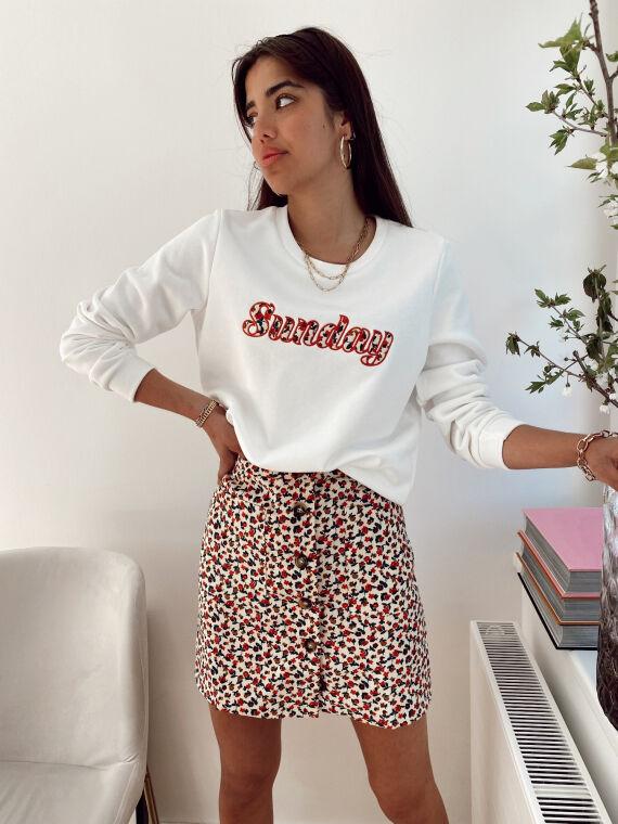 Beige AGAPE velvet effect skirt