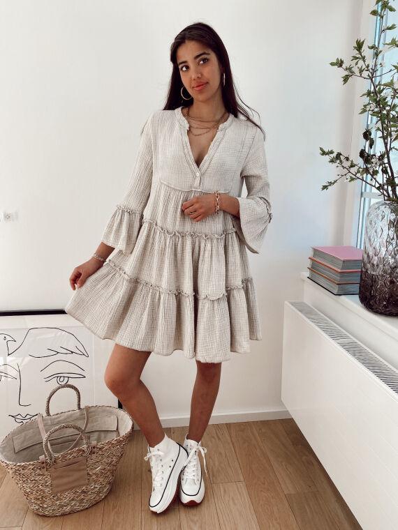 Cotton gauze babydoll dress BRUNI in beige