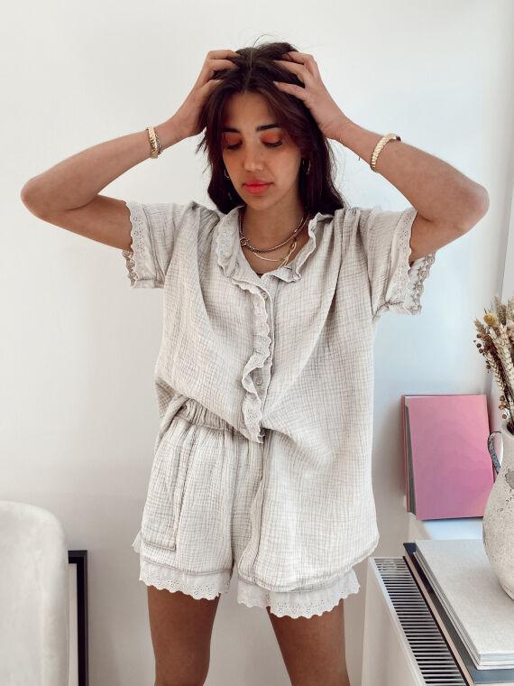 Ensemble chemise et short gaze de coton KOUSMI beige