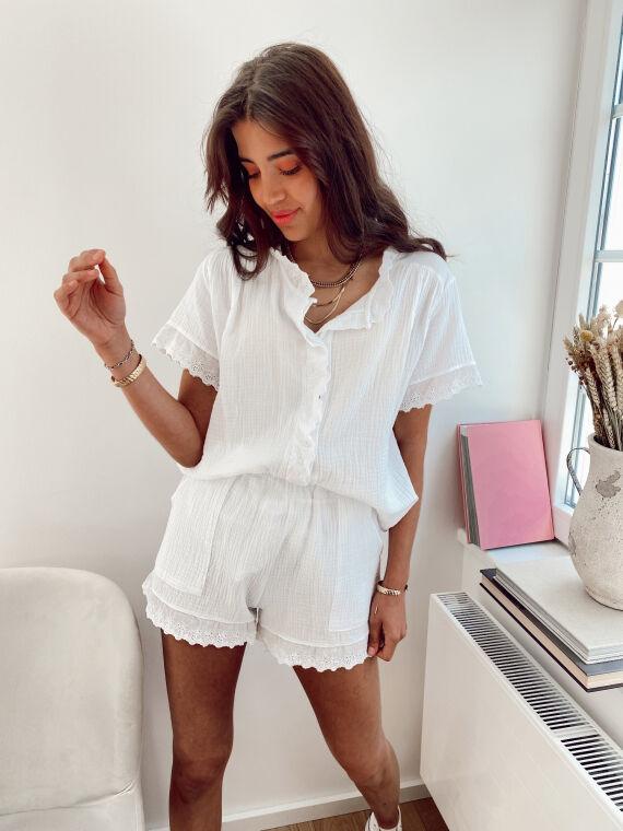 Cotton gauze co-ord KOUSMI in white