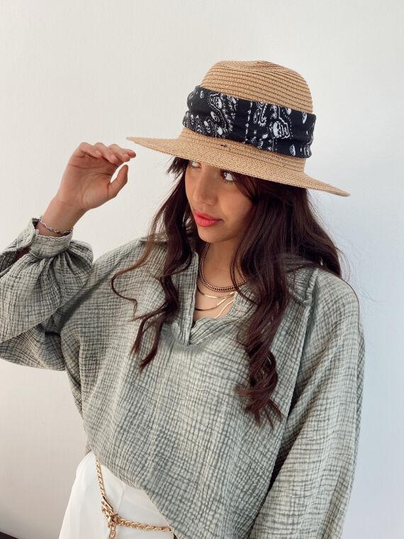 Straw hat FRED black bandana
