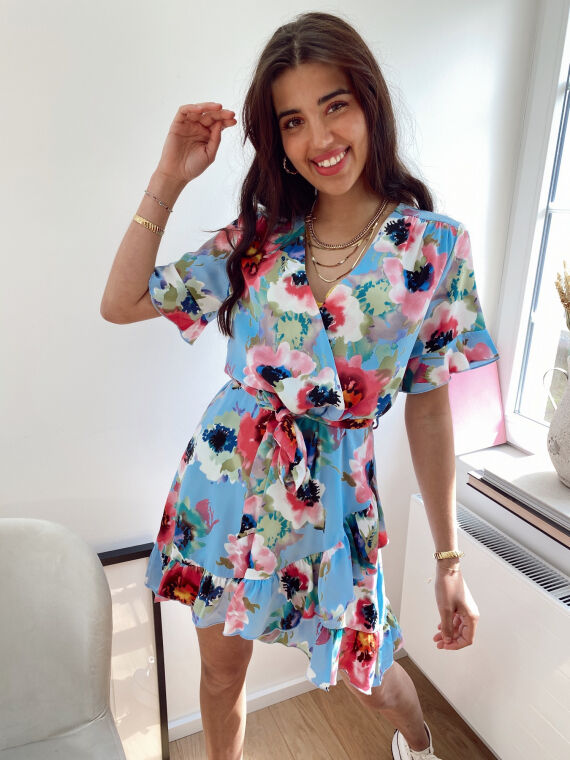 Floral print wrap dress GISELLE in blue