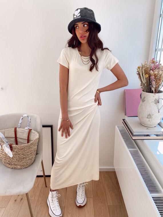 Long ribbed dress VILA in beige