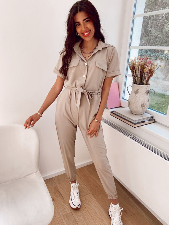 Jumpsuit with gold buttons FELICITAS in beige