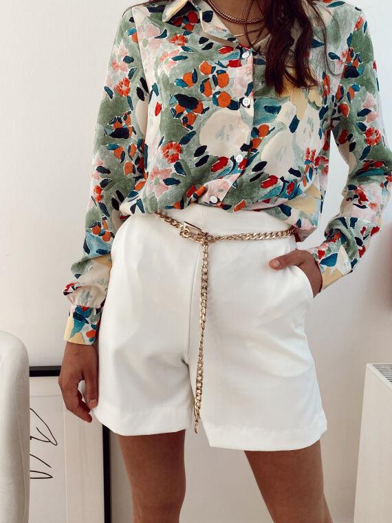High-waisted flared shorts FLAVIO in white