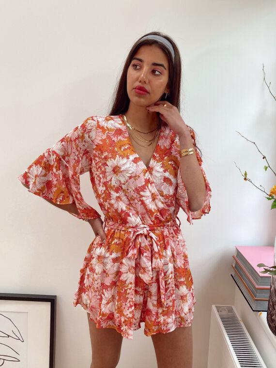 Floral combi-short PRONTO in orange