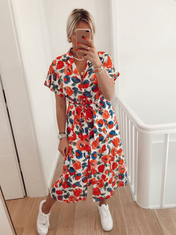Floral midi dress PROMISE in white