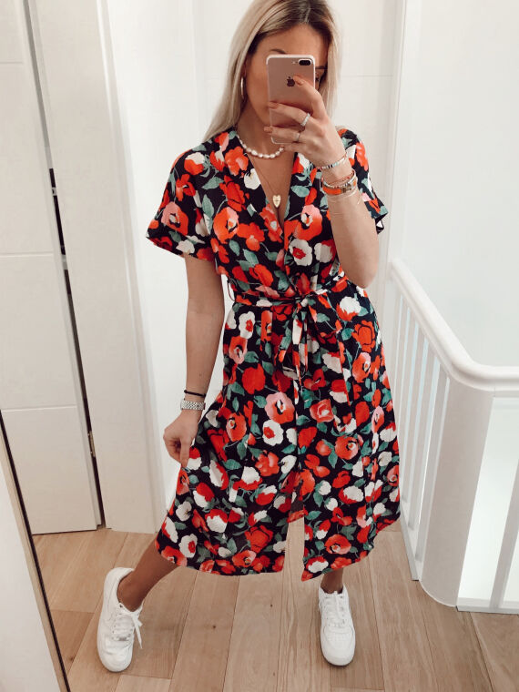 Floral midi dress PROMISE in navy blue