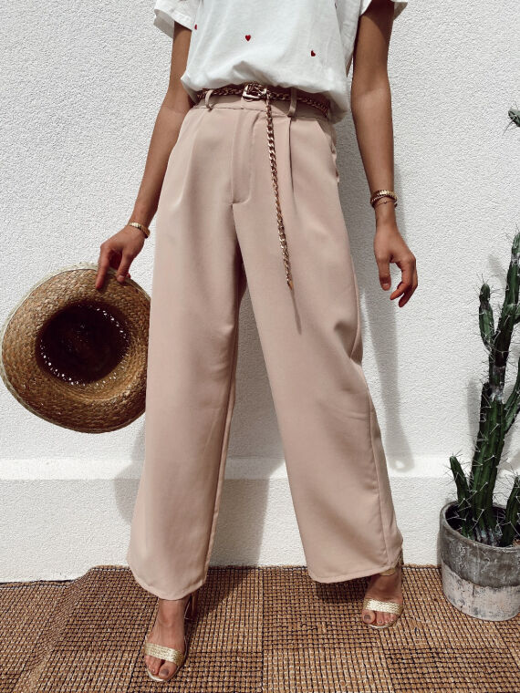 Pantalon large ROSITA beige rosé