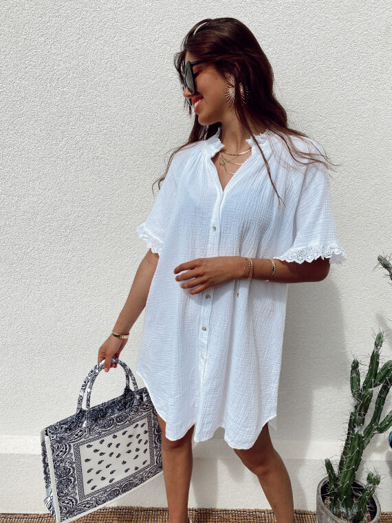 Cotton gauze shirt dress with embroidered ruffles BESS in white