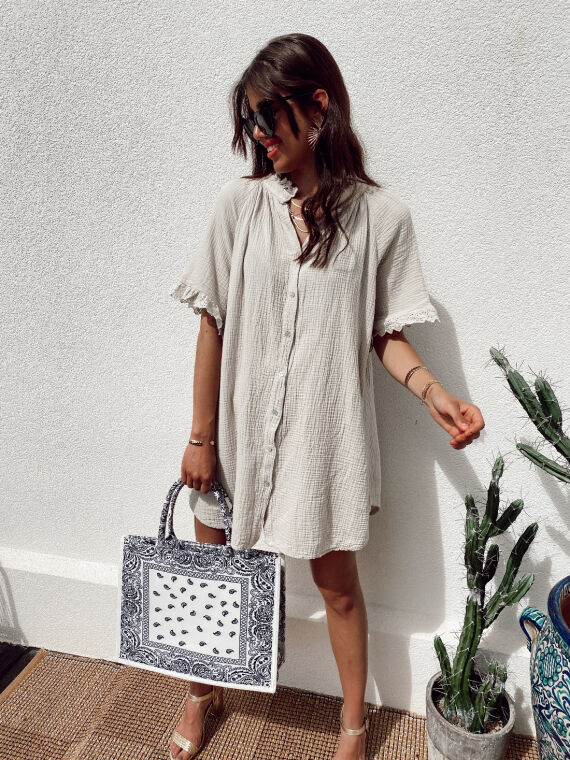 Cotton gauze shirt dress with embroidered ruffles BESS in beige