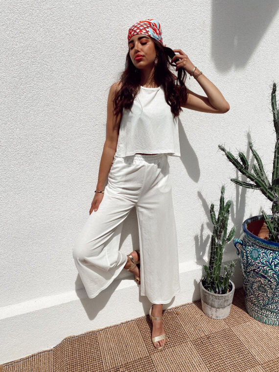 Cozy co-ord top and trouser CHAD in white