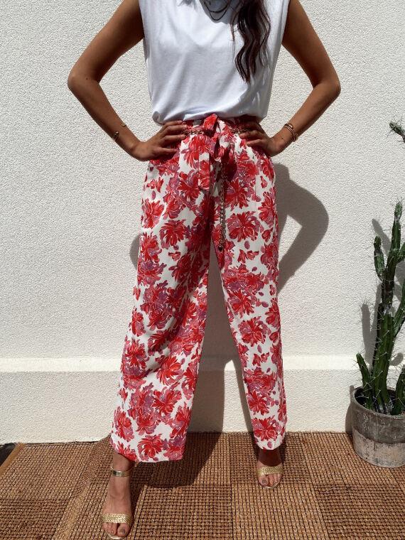 Pantalon fluide fleuri SPIRIT rose