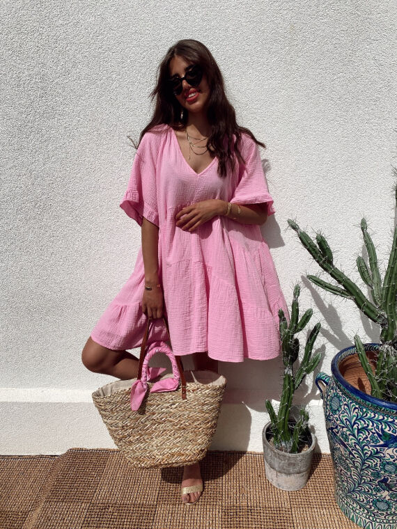 Babydoll cotton gauze dress CAMISA in pink
