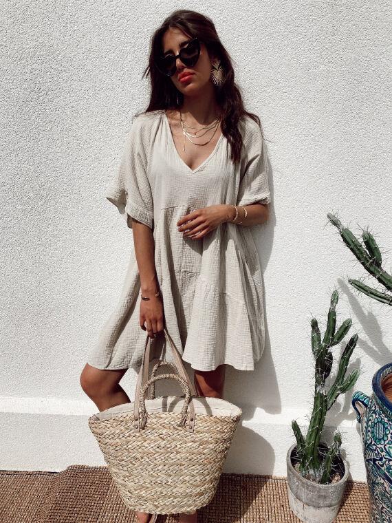 Babydoll cotton gauze dress CAMISA in beige