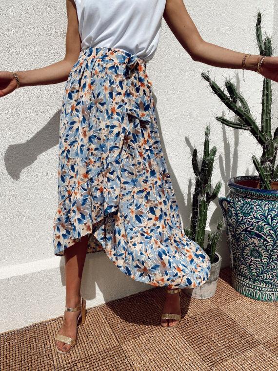 Floral wrap skirt GREGOR in blue