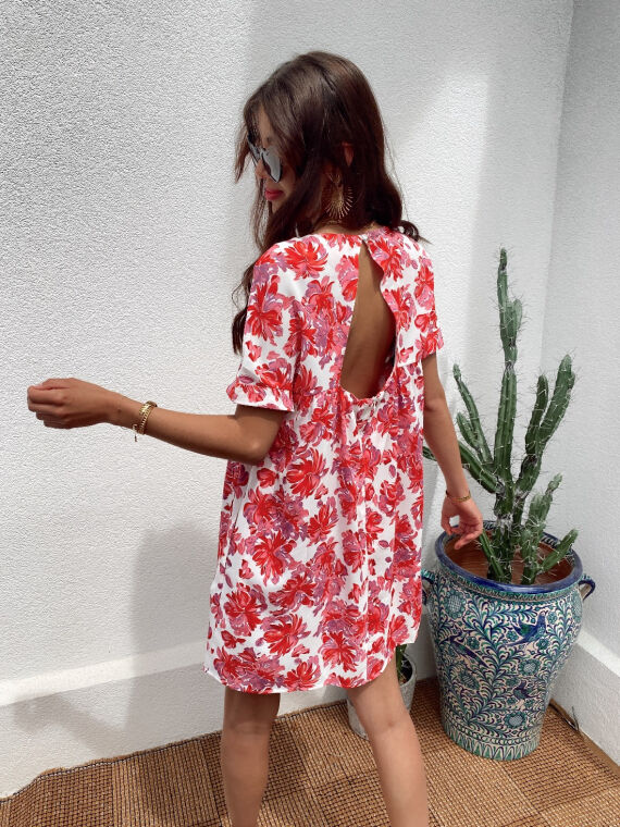 Floral combi-short dress MILLIE in pink