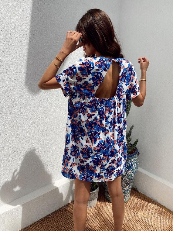 Floral combi-short dress MILLIE in blue