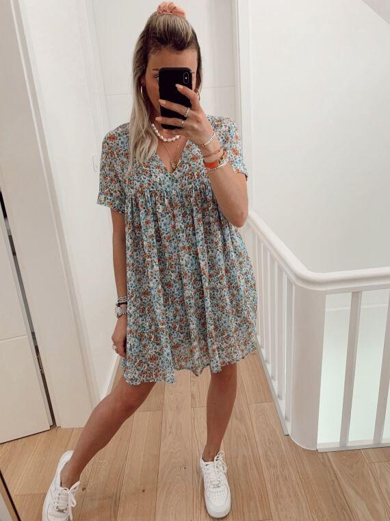 Floral combi-short dress ELANE in blue