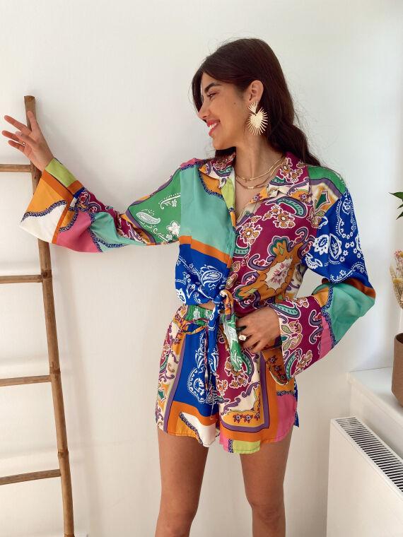Ensemble chemise et short imprimés foulard CONFESS
