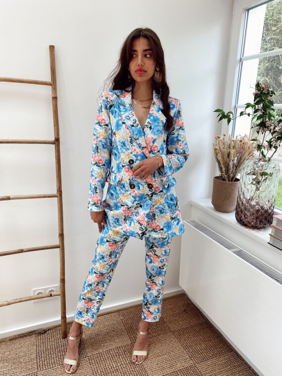 Floral co-ord blazer and trouser TIM in blue