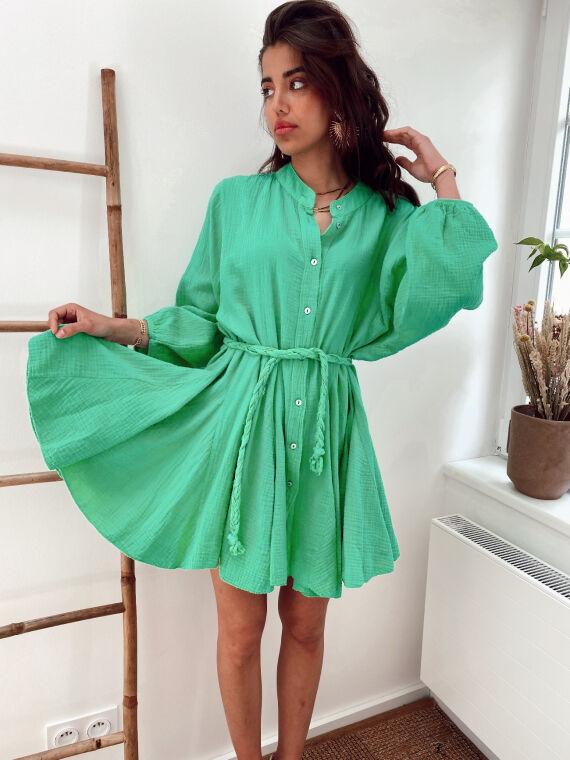 Cotton gauze dress braided belt OPAL in green