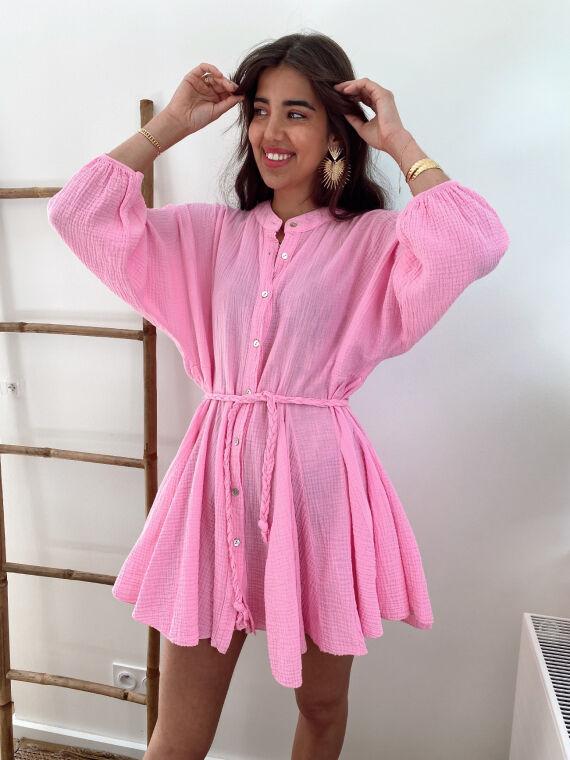 Cotton gauze dress braided belt OPAL in pink