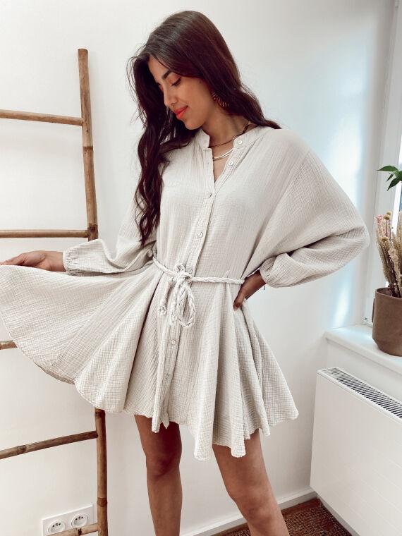 Cotton gauze dress braided belt OPAL in beige