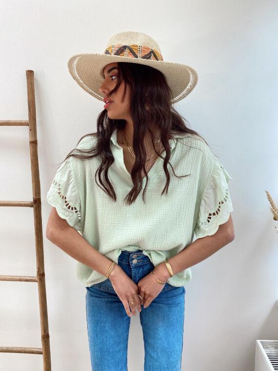Cotton gauze blouse with openwork sleeves DIARA in aqua