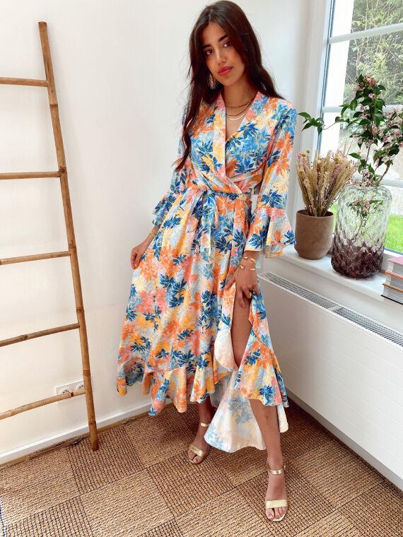 Long kimono dress with leaf print LIGITA in blue