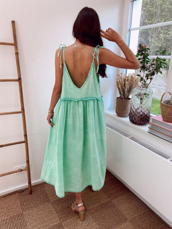 Cotton gauze dress with tie straps HELENE in green
