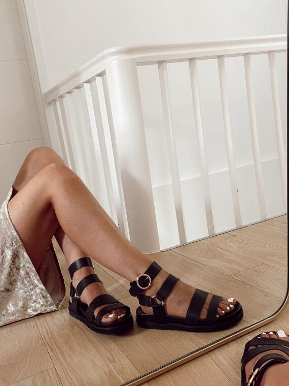 Platform sandals ankle straps PERCY in black