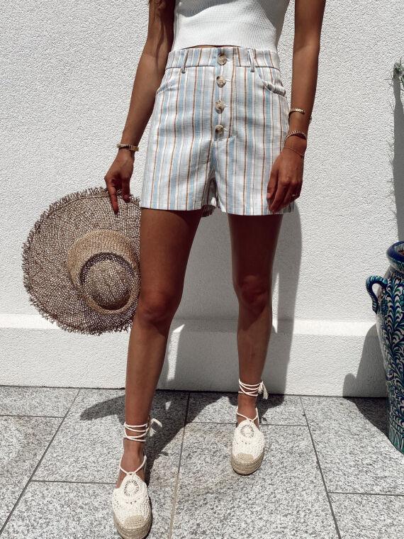 Multi-striped shorts linen feel JAGUAR in blue