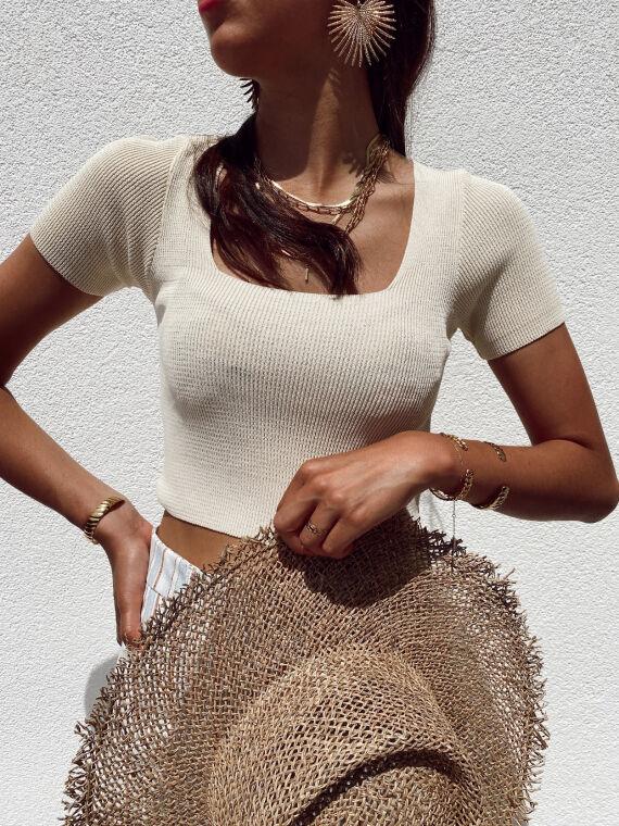 Ribbed knit top square neck PRADO in beige
