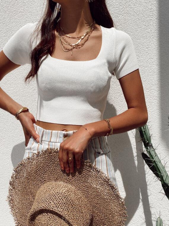 Ribbed knit top square neck PRADO in white