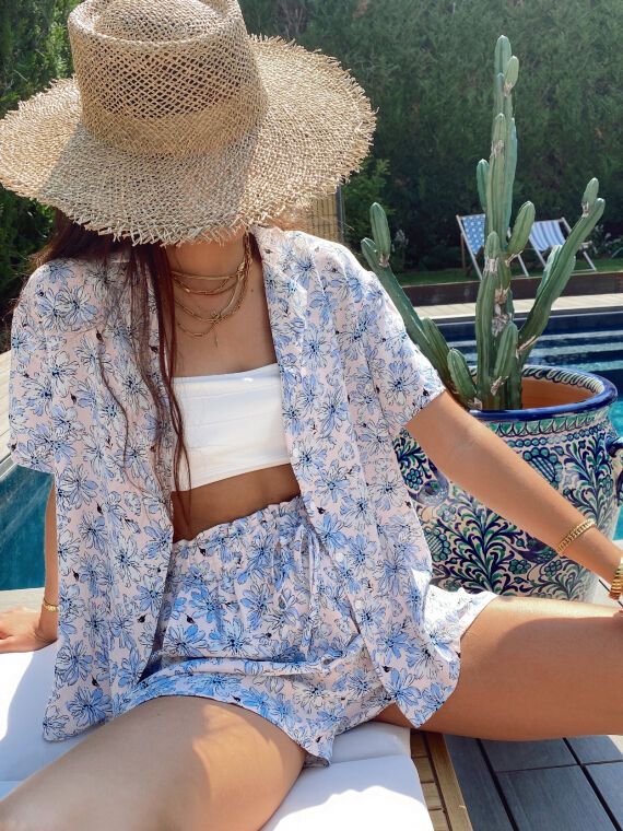 Floral summer set blouse and shorts JERRY in pink