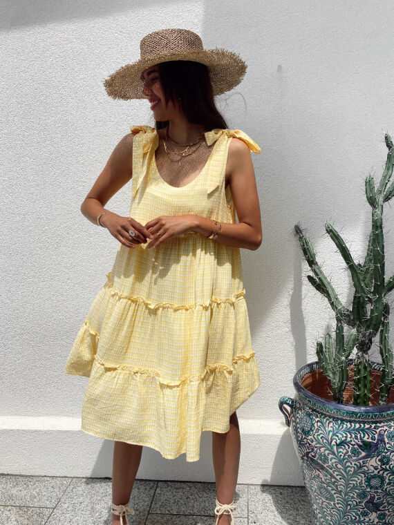 Gingham dress tie straps MELLOW in yellow