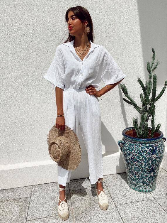 Cotton gauze jumpsuit PAPER in white