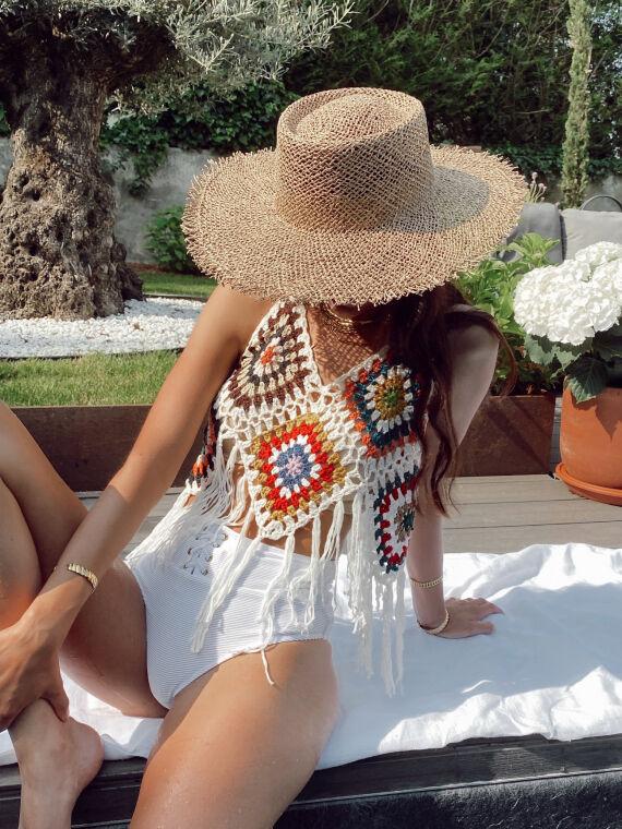 Crochet top fringe hem RAVELLO multicolor