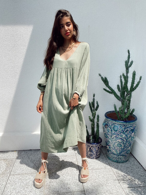 Long babydoll cotton gauze dress MAGICA in khaki