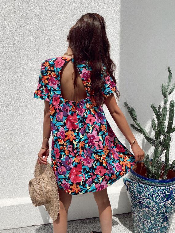 Combi-short dress big flower print FLORINE in black