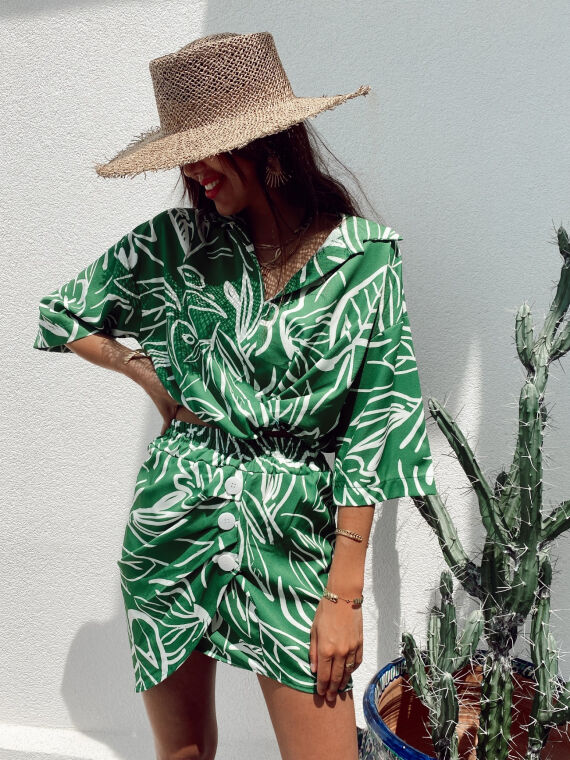 Leaf print co-ord blouse and skirt LUZIO in green