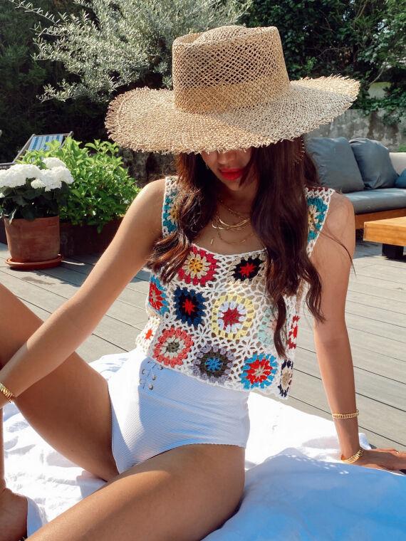 Crochet crop top MANAROLA multicolor